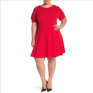 Eliza J Red Fit and Flare Dress
